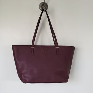Kate Spade burgundy purple leather tote  bag